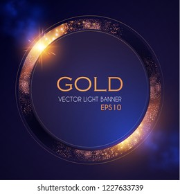 Abstract Shining Circle Gold Banner with Light Effect. Vector illusratration