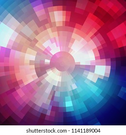 Abstract shining concentric mosaic vector background. Poster music design