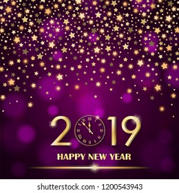 Abstract shining falling stars on purple ambient blurred background. New Year 2019 concept. Luxury design. Vector illustration