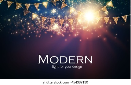 Abstract Shining Party Background with Gold Flags and Flash Light. Christmas Design. Vector illustration
