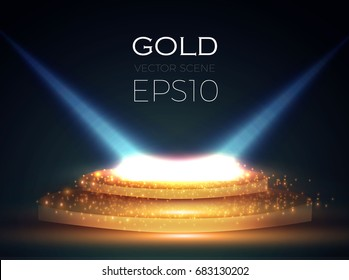 Abstract Shining Podium Background with Spotlights. Gold Glittering Scene. You Win! Luxury, Success and Treasure Design. Game, Fashion and Gambling Space. Vector illustration