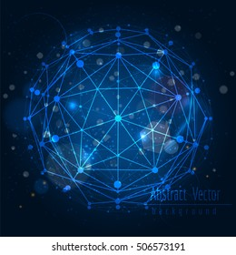 Abstract shining vector background with connect globe sphere