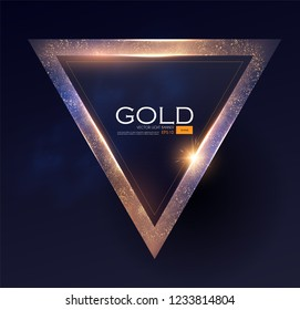 Abstract ShiningTriangle Gold Banner with Light Effect. Vector illusratration