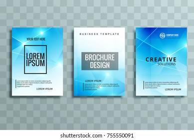 Abstract shiny blue business brochure set design