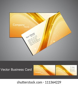 abstract shiny golden colorful stylish wave business card set