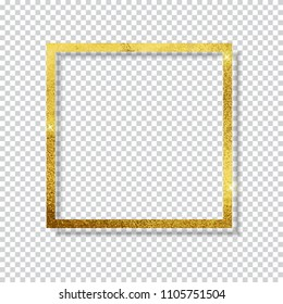 Abstract Shiny Golden Frame  Luxury  on Transparent Background. Vector Illustration EPS10