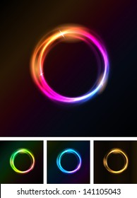 Abstract Shiny Light Circles/ Illustration of a set of abstract shiny light circles with bright stars on black background