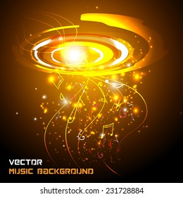 Abstract shiny musical notes on techno background. futuristic vector