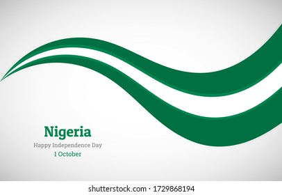 Abstract shiny Nigeria wavy flag background. Happy independence day of Nigeria with classic vector illustration