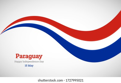 Abstract shiny Paraguay wavy flag background. Happy independence day of Paraguay with creative vector illustration