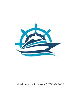 Abstract ship logo. yacht icon. Ocean ship graphic. Marine boat transport symbol. Nautical icon. vector logo template ready for use