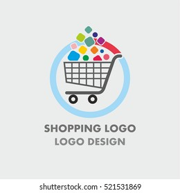 Abstract shopping basket logo with colorful bubbles. Abstract shopping logo.Online shop logo.