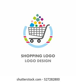 Abstract shopping cart logo with colorful square