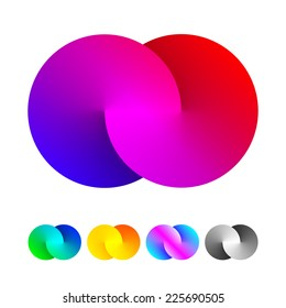 Abstract sign of two merged circles. Infinity logo sign. Spectrum icon.