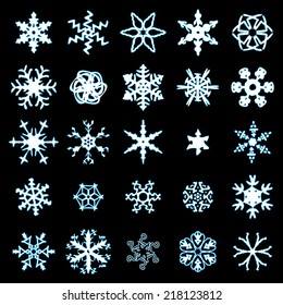 Abstract signs,  sixfold radial symmetry, snowflakes for Christmas. Vector