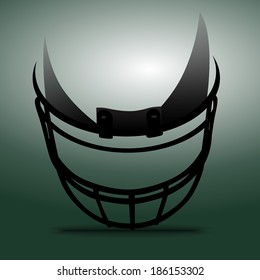 Abstract silhouette American football helmet in black on the floor