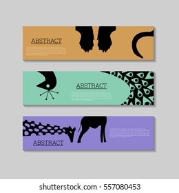 Abstract Silhouette animals icons banners design template, Can be used as baby shower greeting cards, celebration. Illustration, Vector eps10.