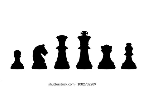 Abstract silhouette background of strategy innovation planning. Plan for future business competition using chess set King , queen and horse to present business war game concept