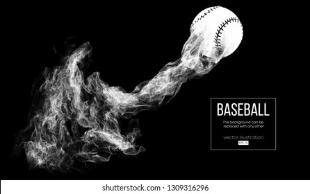 Abstract silhouette of a baseball ball on dart black background from particles, dust, smoke. Baseball ball flies . Background can be changed to any other. Vector illustration
