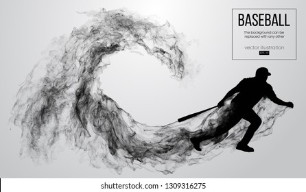 Abstract silhouette of a baseball player batter on white background from particles, dust, smoke. Baseball player batter hits the ball . Background can be changed to any other. Vector illustration