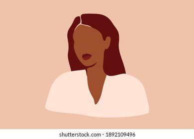 Abstract Silhouette of Black woman with pink hair. Confident young female with brown skin portrait. Vector illustration for International Women's Day and Mother's day.
