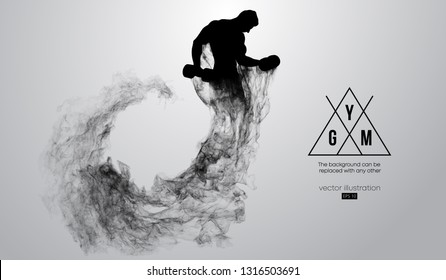 Abstract silhouette of a bodybuilder. gym logo on the white background from particles, dust, smoke, steam. Bodybuilder training. Background can be changed to any other. Vector illustration