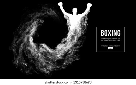 Abstract silhouette of a boxer fighter on the dark, black background from particles, dust, smoke, steam. Boxer is winner. Background can be changed to any other. Vector illustration