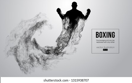 Abstract silhouette of a boxer fighter on the white background from particles, dust, smoke, steam. Boxer is winner. Background can be changed to any other. Vector illustration