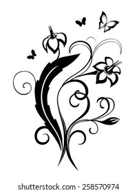 Abstract silhouette of decorative butterflies. It is designed to decorate. Maybe for tattoo