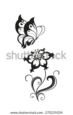 Abstract Silhouette Decorative Butterfly Flower Designed Stock
