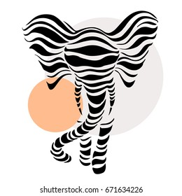 Abstract silhouette of Elephant. Beautiful Vector illustration. White background.