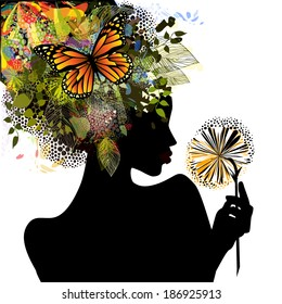 Abstract silhouette of a girl with hair butterflies and flowers. Vector