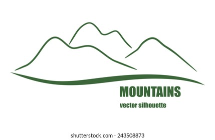 Abstract silhouette of green mountains. Vector illustration for design logo, emblems and banners.