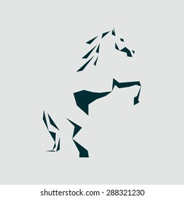 abstract silhouette of a horse, buyout stands on its hind legs. Stylized horse logo