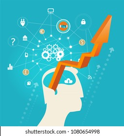 Abstract silhouette of human's head and arrow pointing up representing thinking process, creativity, challenge and novelty in business. Concept illustration