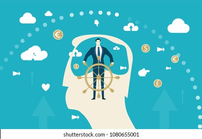Abstract silhouette of human's head and strong businessmen taking control of the mind, capable of making changes and leading to success. Business concept illustration