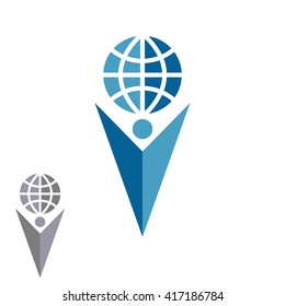 Abstract silhouette man logo holding globe, human shape arrow hand up mockup emblem success company
