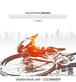 Abstract silhouette of mountain bike and helmet. Mountain biking cover design.
