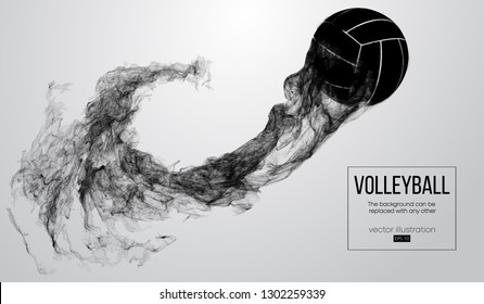 Abstract silhouette of a volleyball ball on background from particles. Volleyball ball is flying. Background can be changed to any other. Vector illustration