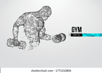 Abstract silhouette of a wireframe bodybuilder. Man on the white background. Gym. Convenient organization of eps file. Vector illustration. Thanks for watching