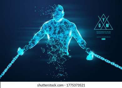 Abstract silhouette of a wireframe bodybuilder. Man on the blue background. Gym. Convenient organization of eps file. Vector illustration. Thanks for watching
