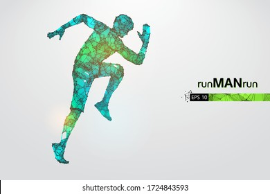 Abstract silhouette of a wireframe running athlete, man on the white background. Athlete runs sprint and marathon. Convenient organization of eps file. Vector illustration. Thanks for watching