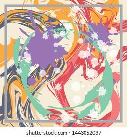 Abstract Silk Fabric Scarf Illustration for Hijab Printing