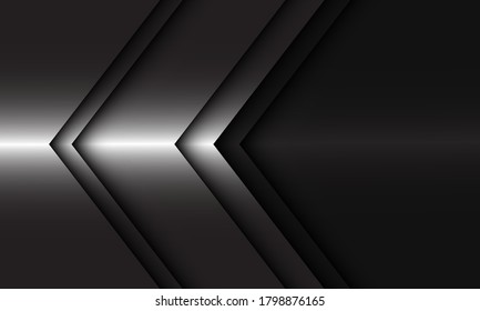 Abstract silver arrow direction on black blank space design modern luxury futuristic background vector illustration.