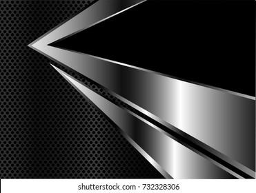 Abstract silver arrow on dark metal circle mesh design modern futuristic background vector illustration.