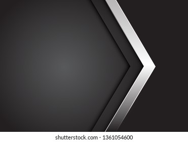 Abstract silver arrow on grey with blank space design modern luxury futuristic background vector illustration.