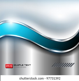 Abstract silver background, metallic with blue wave.