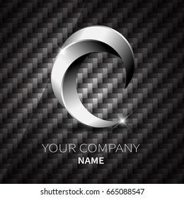 Abstract silver metallic shape logo design twist on black Kevlar