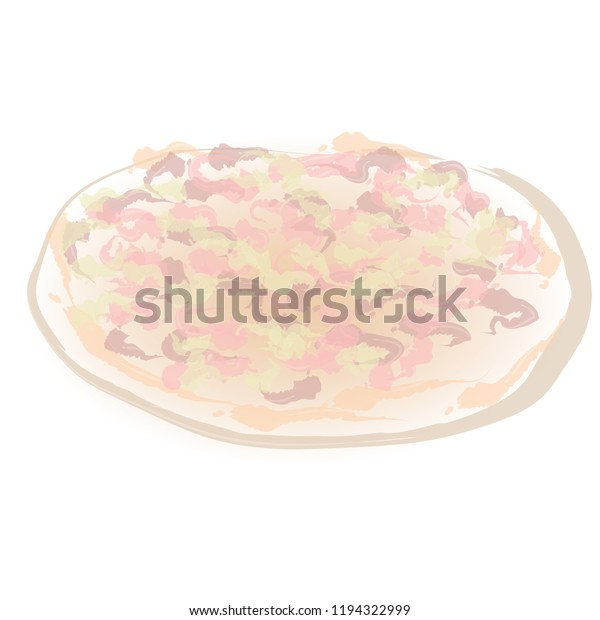 Abstract Simple Art Handmade Drawing Pizza Stock Vector