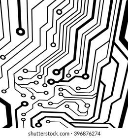 Abstract simple circuit board in perspective view. EPS10 vector curves